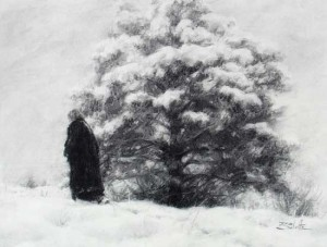 Landschaft zeichnen Kohle - Anleitung Kohlezeichnung lernen - Dan Schultz