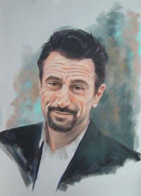 Portrait von Robert de Niro mit Pastellkreide – Gerard Mineo