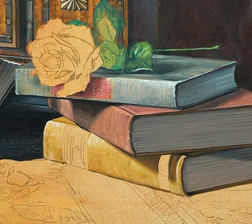 Stillleben malen lernen, realistisch malen mit Untermalung in Mehrschichttechnik mit Ölfarben malen