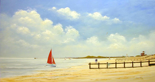 Acryl Malanleitung Strand und Meer mit Segelbooten – Cameron Weller