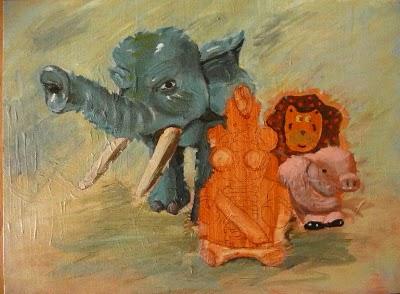 Elefant malen – Acryl Demonstration der Wischtechnik bei Untermalung- Christopher Vasil