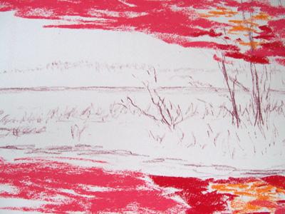 Pastellzeichnen - Ein Sonnenuntergang im Herbst –Bäume-Gras-Wasser- Christine Novak Kane