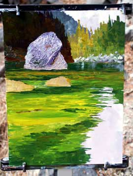 Wasser,Fluss,Berge,Bäume mit Acryl malen - Donald Neff
