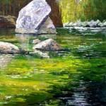 Wasser,Fluss,Berge,Bäume mit Acryl malen – Donald Neff