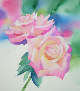 Bl ten malen blumen mit aquarellfarben malen anleitungwie for How to paint a rose in watercolor step by step