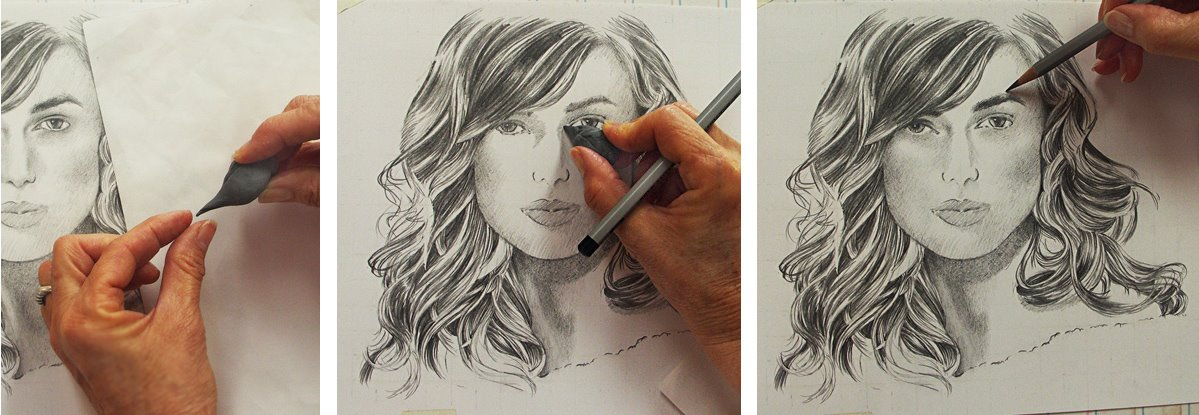 Zeichnungen übertragen oder vergrößern  Gittermethode am Beispiel von Keira Knightley