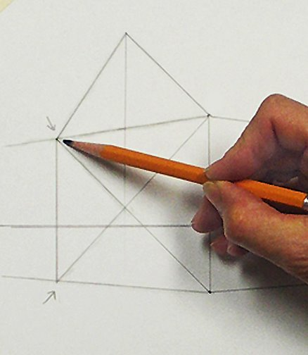 Ein Haus perspektivisch zeichnen mit Fluchtpunkten und Horizontlinie Teil 1 –Beschreibung von Mara Mattia