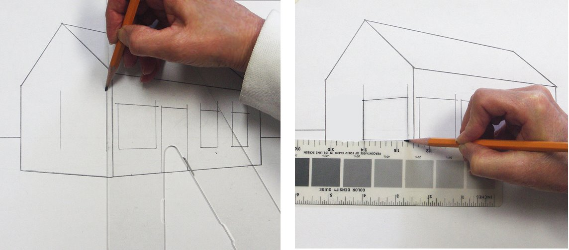 Ein Haus perspektivisch zeichnen mit Fluchtpunkten und Horizontlinie Teil 2–Beschreibung von Mara Mattia