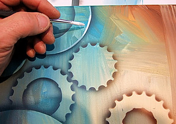 Zahnräder in Mischtechnik Airbrush  Acryl aus dem Buch Luft und Pinsel von Georg Huber