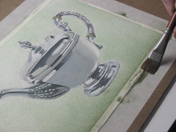 Metall malen, mit Aquarell Farben malen - Chrom ,Silber oder Gold malen– John Fisher
