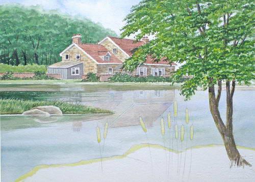 Haus am See , Landschaftsbild in Aquarell Anleitung Schritt für Schritt - John Fisher