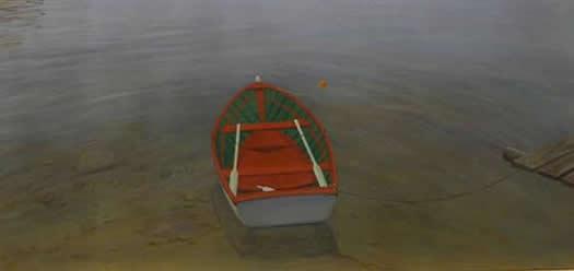 Malen mit Acrylfarben lernen - Ein Boot auf dem See - Brian Rice