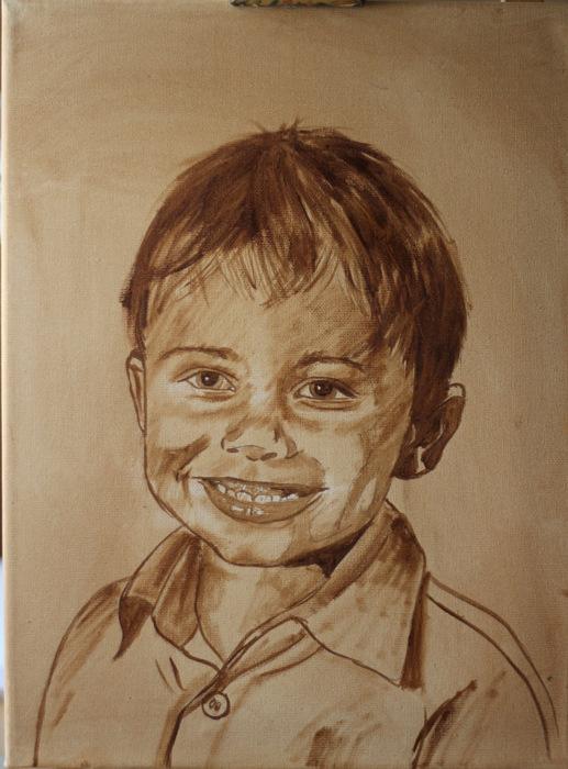 Kinder malen, Gesichter malen altmeisterlich mit Grisaille - Monika Kunze