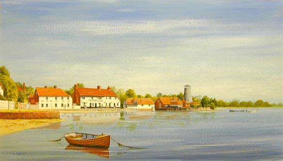 Himmel malen mit Acryl Häuser malen Anleitung Hafen von Cameron Weller