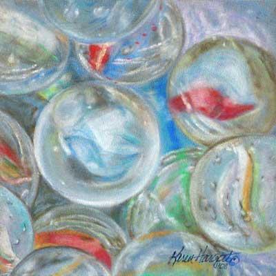 Glaskugeln Murmeln, Reflexion Transparenz Glas mit Pastellkreide zeichnen –Karen Hargett