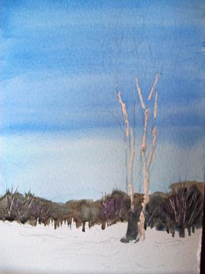 Bäume malen mit Aquarellfarben – Anleitung Pappel malen
