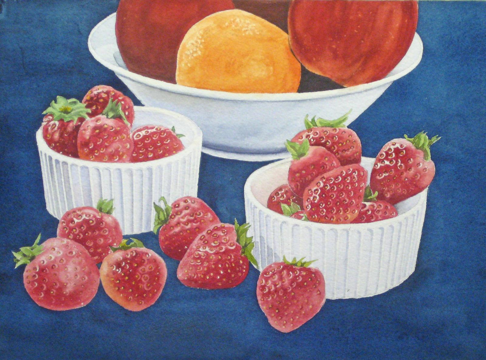 Erdbeeren Malen Früchte Malen Obst Malen Mit Aquarellfarben Malen