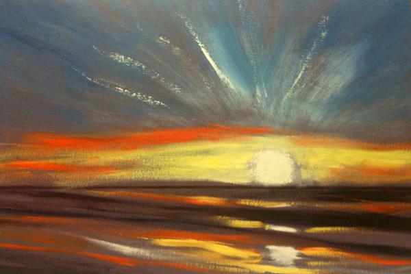 Sonnenuntergang mit Ölfarben malen Anleitung von Gina de Gorna