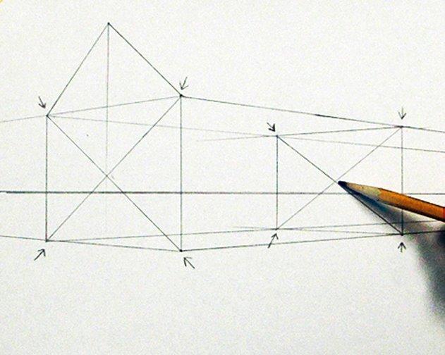Ein Haus Perspektivisch Zeichnen Mit Fluchtpunkten Und Horizontlinie