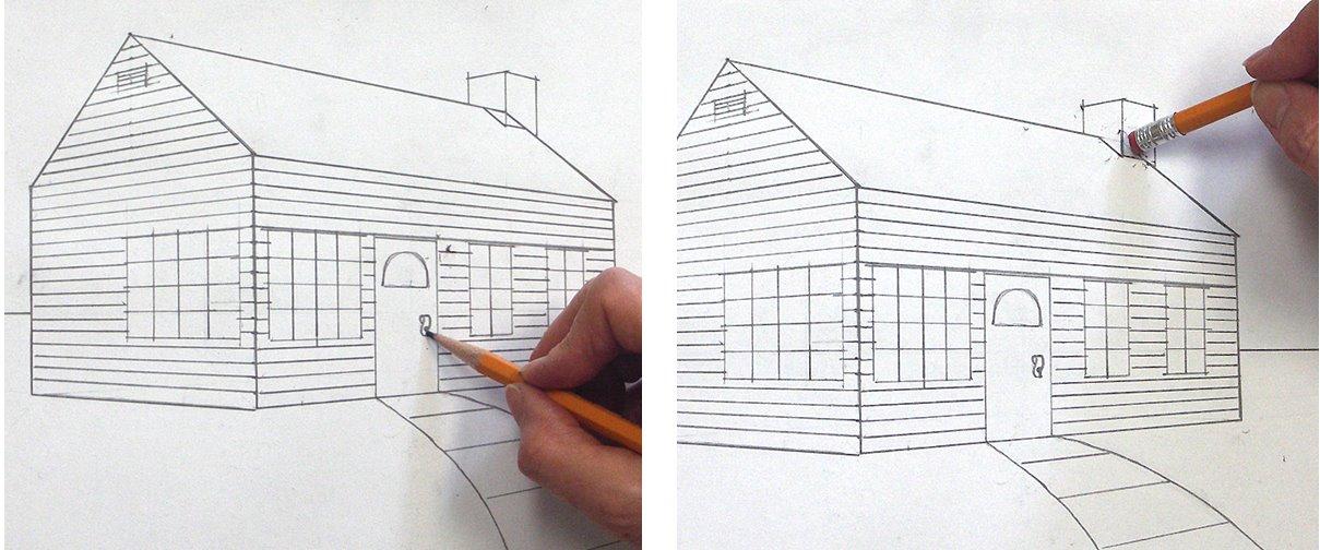 Ein Haus Perspektivisch Zeichnen Mit Fluchtpunkten Und