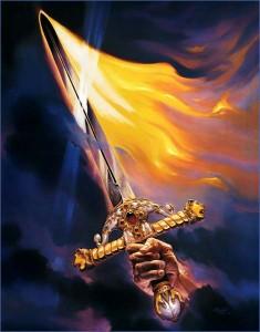 Ein Schwert malen - Flammen malen - Fantasy Art mit Ölfarben