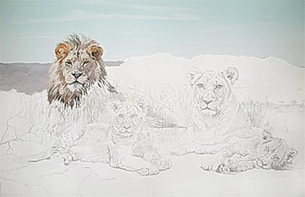 Die Löwenfamilie- Ölfarben in Spachteltechnik- Demonstration mit Tipps und Tricks von Paul Rupert